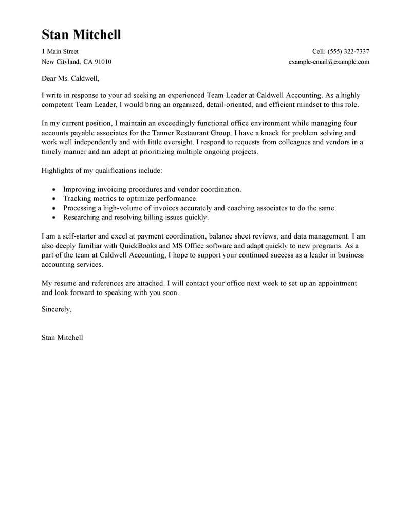 free team lead cover letter examples  u0026 templates from