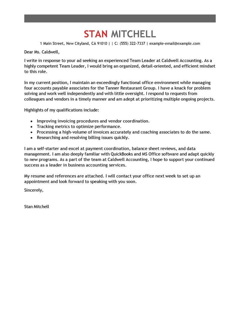 Amazing Management Cover Letter Examples Templates From