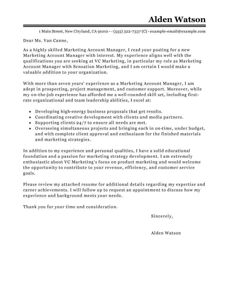 free account manager cover letter examples templates from our