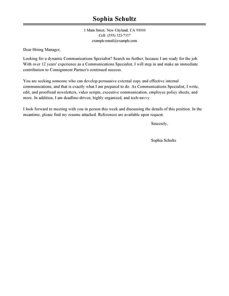 amazing communications specialist cover letter examples
