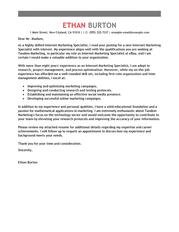 Outstanding Marketing Cover Letter Examples & Templates from Trust ...