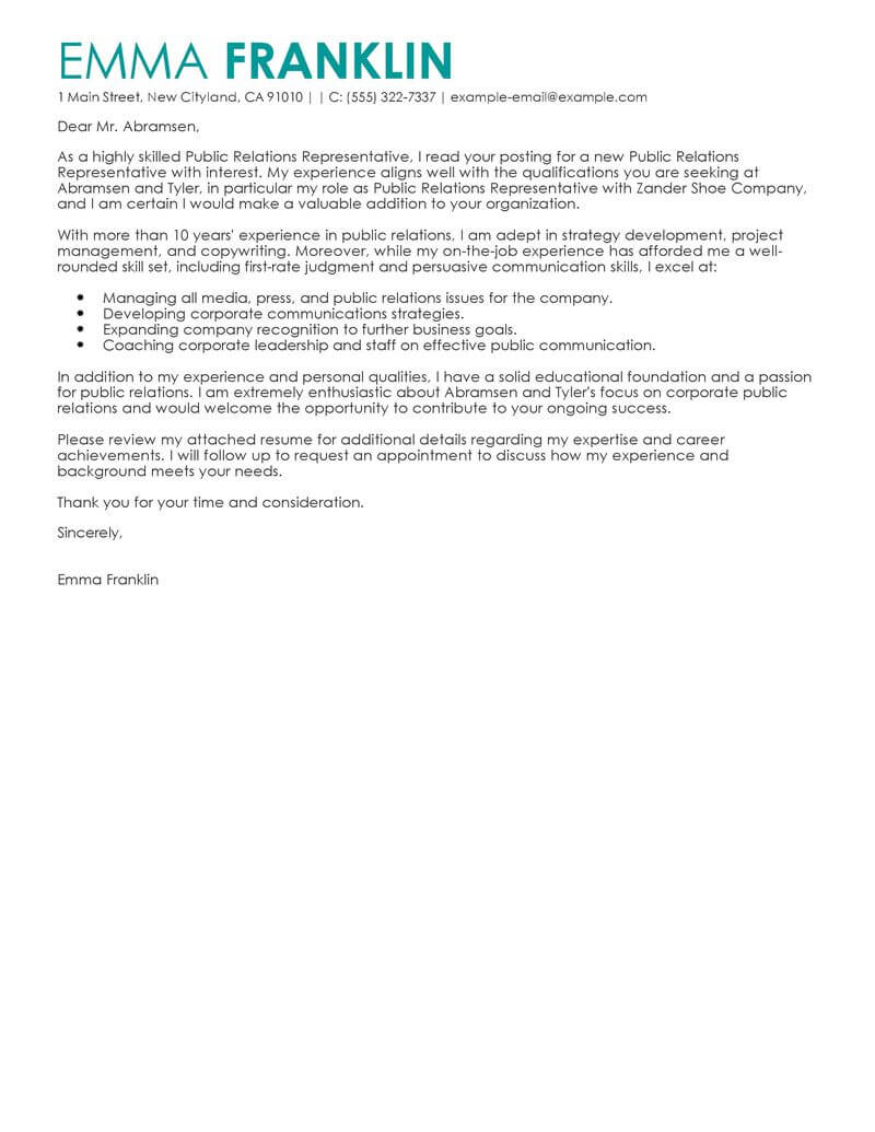 free public relations cover letter examples  u0026 templates from our writing service
