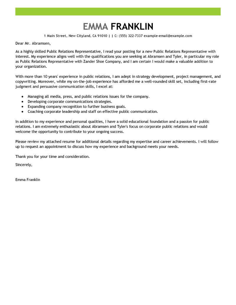free public relations cover letter examples templates from our