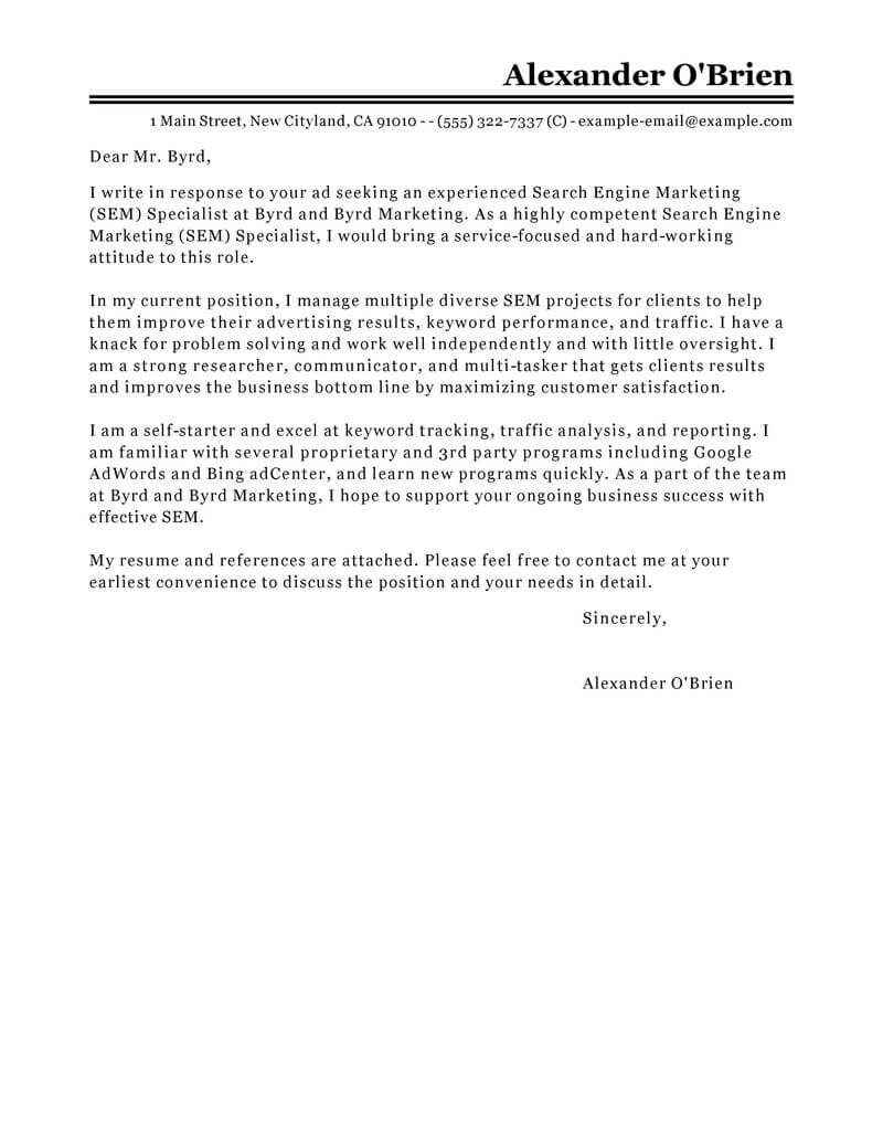 outstanding marketing cover letter examples & templates from trust