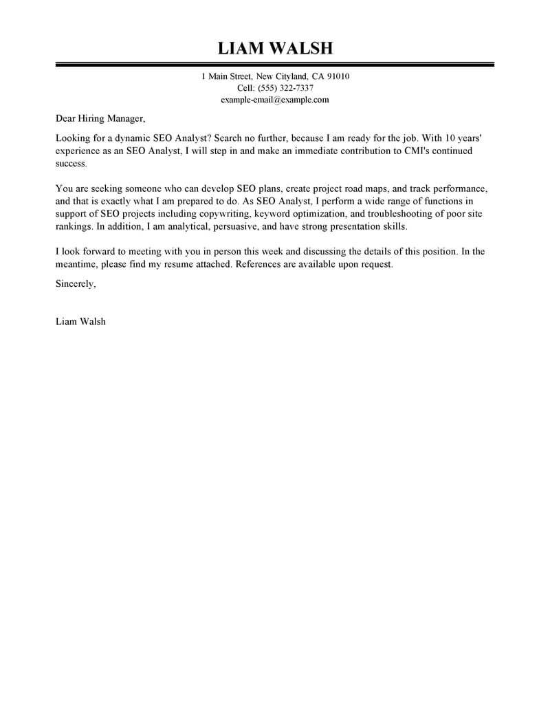 Outstanding Seo Cover Letter Examples Amp Templates From