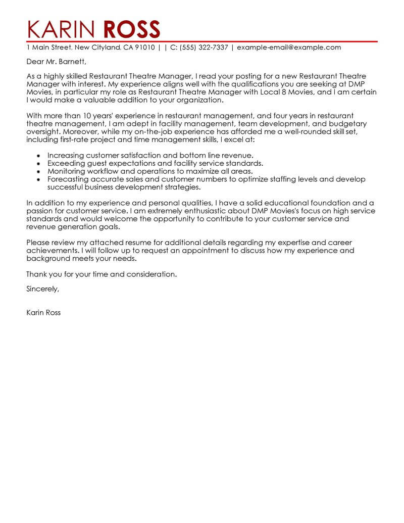 amazing restaurant theatre manager cover letter examples