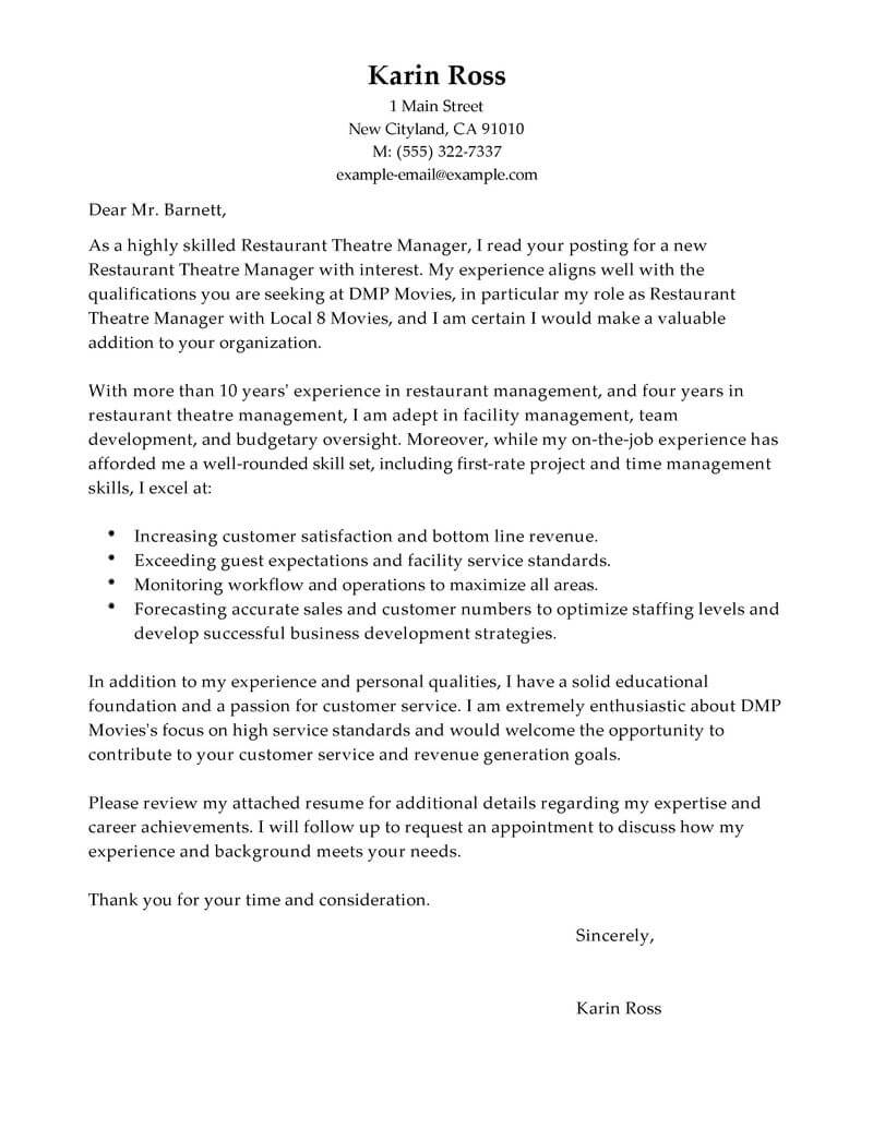 restaurant theatre manager cover letter examples - Development Director Cover Letter