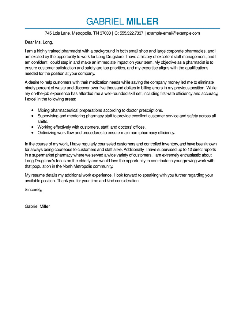 outstanding pharmacist cover letter examples  u0026 templates