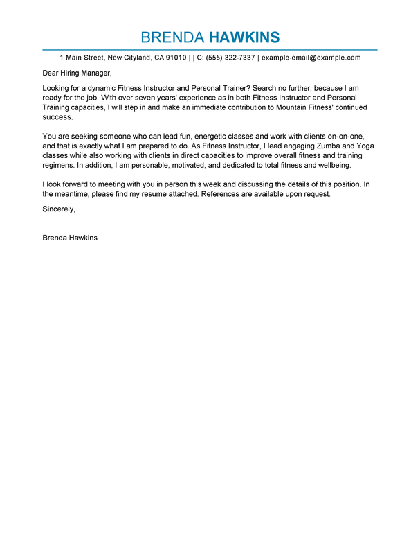 Wonderful Fitness And Personal Trainer Cover Letter Examples