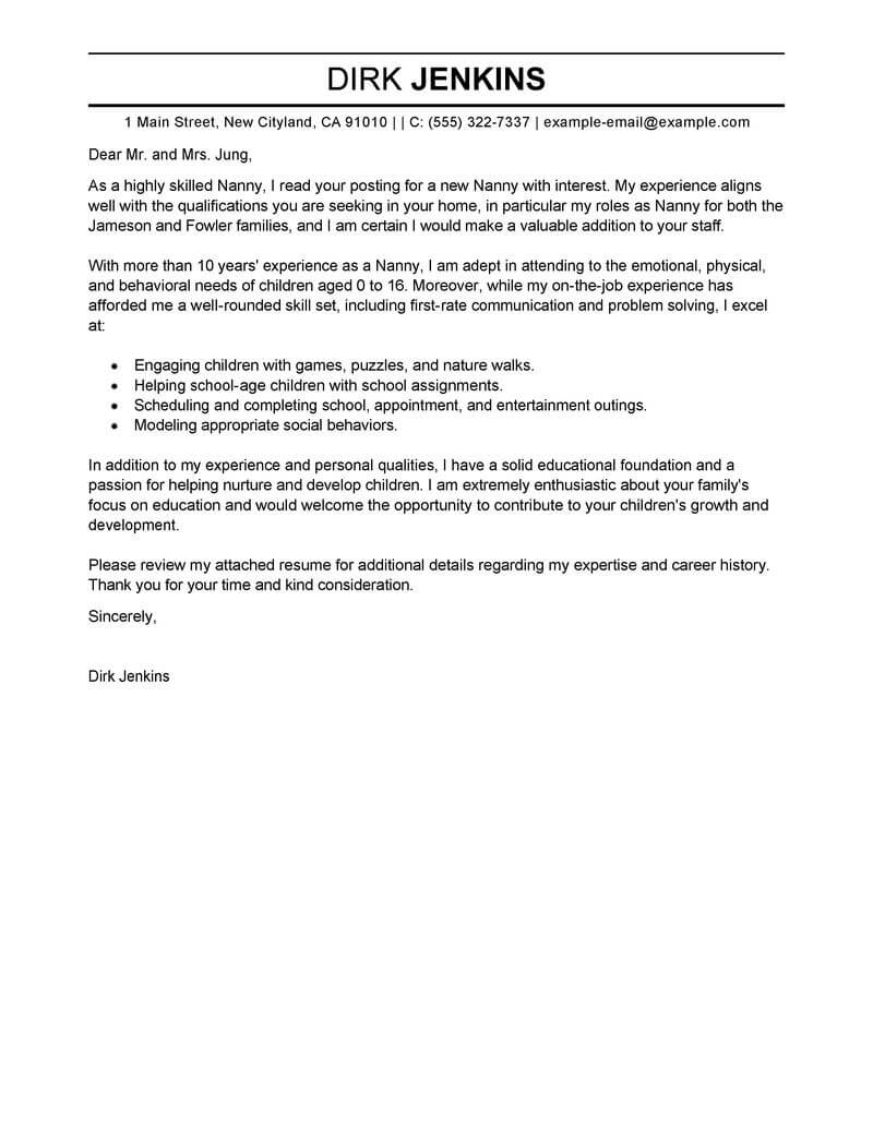 amazing nanny cover letter examples  u0026 templates from trust