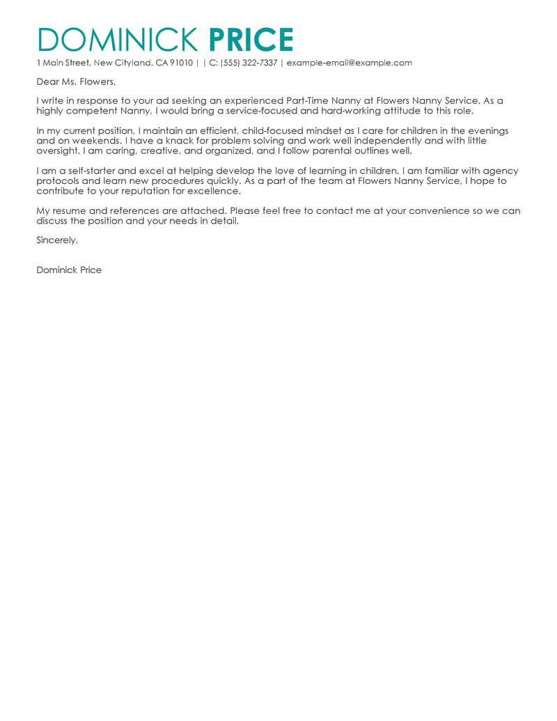 amazing part time nanny cover letter examples  u0026 templates
