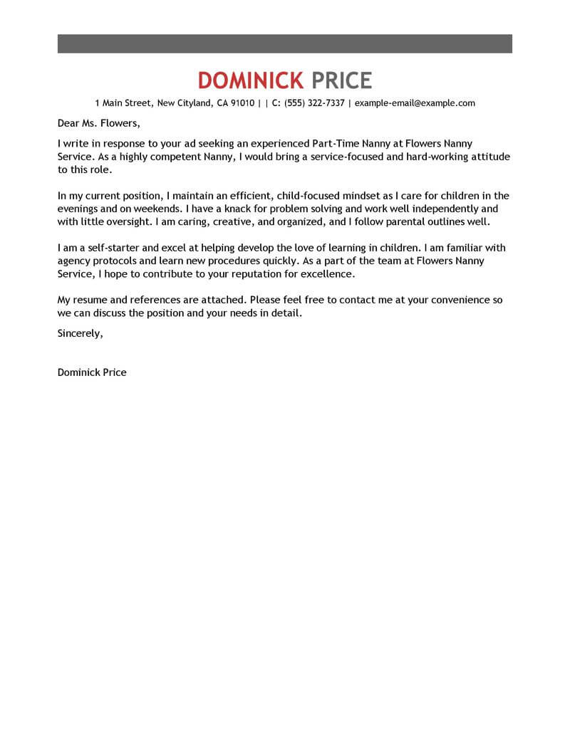 Part Time Nanny Cover Letter Examples