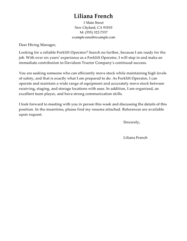 amazing forklift operator cover letter examples