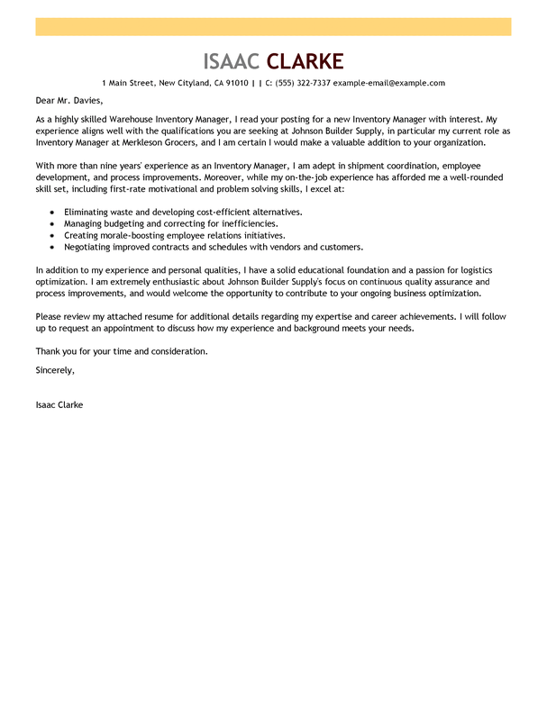 Cover Letter Order Management - Inventory Manager Advice