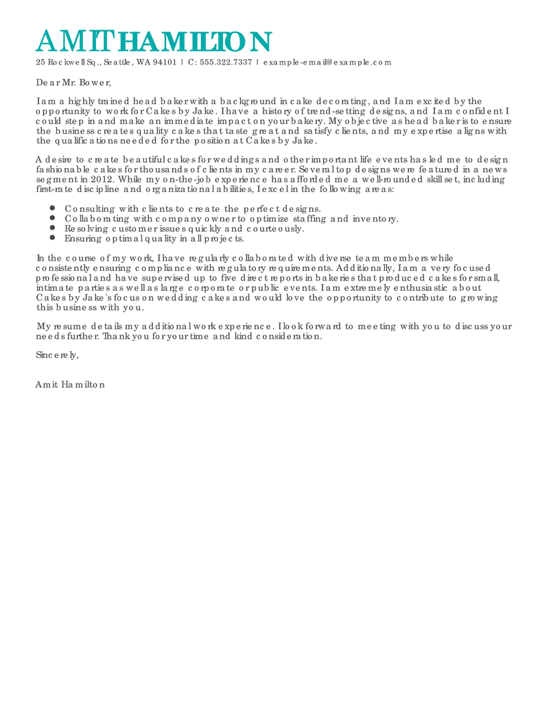 outstanding baker cover letter examples  u0026 templates from