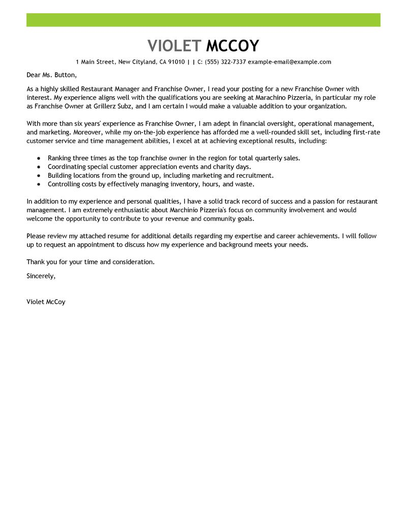 Franchise Owner Cover Letter Examples