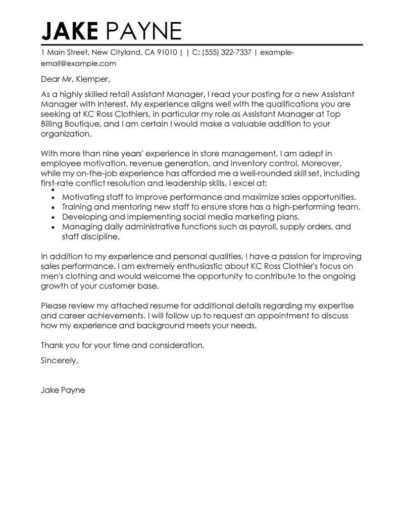 outstanding retail assistant manager cover letter examples