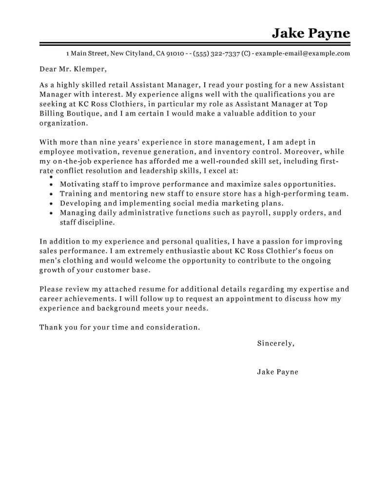 outstanding retail cover letter examples  u0026 templates from trust writing service