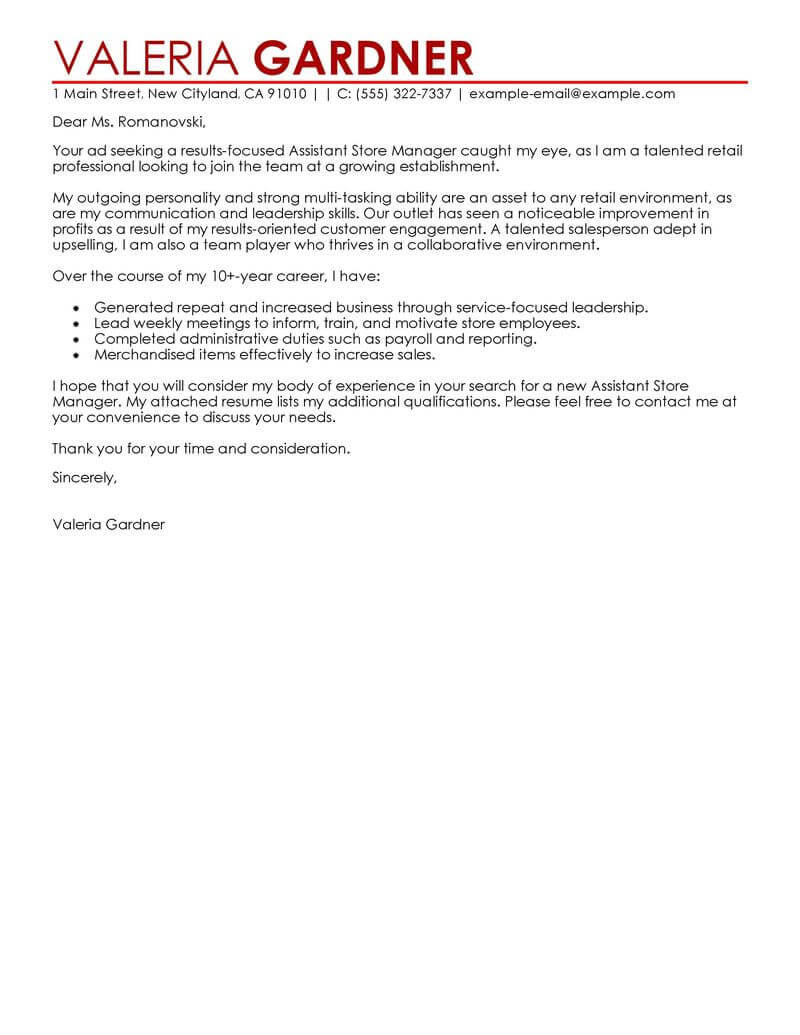 amazing retail assistant store manager cover letter