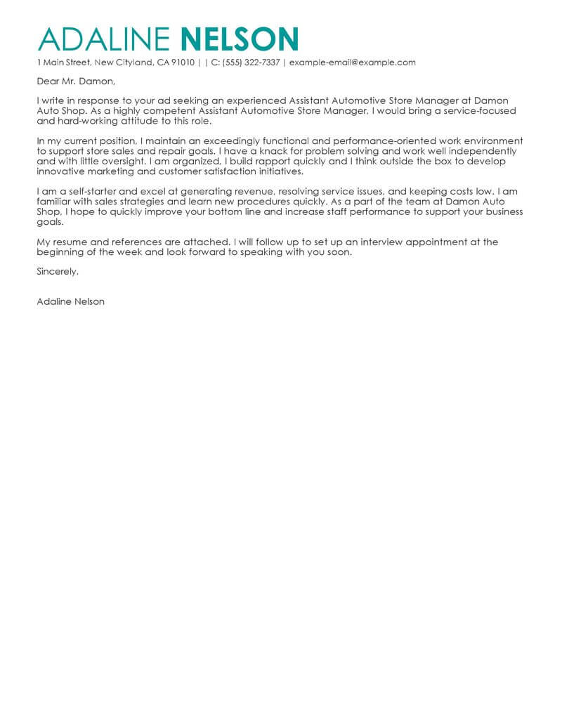 Amazing Retail Assistant Store Manager Cover Letter Examples ...