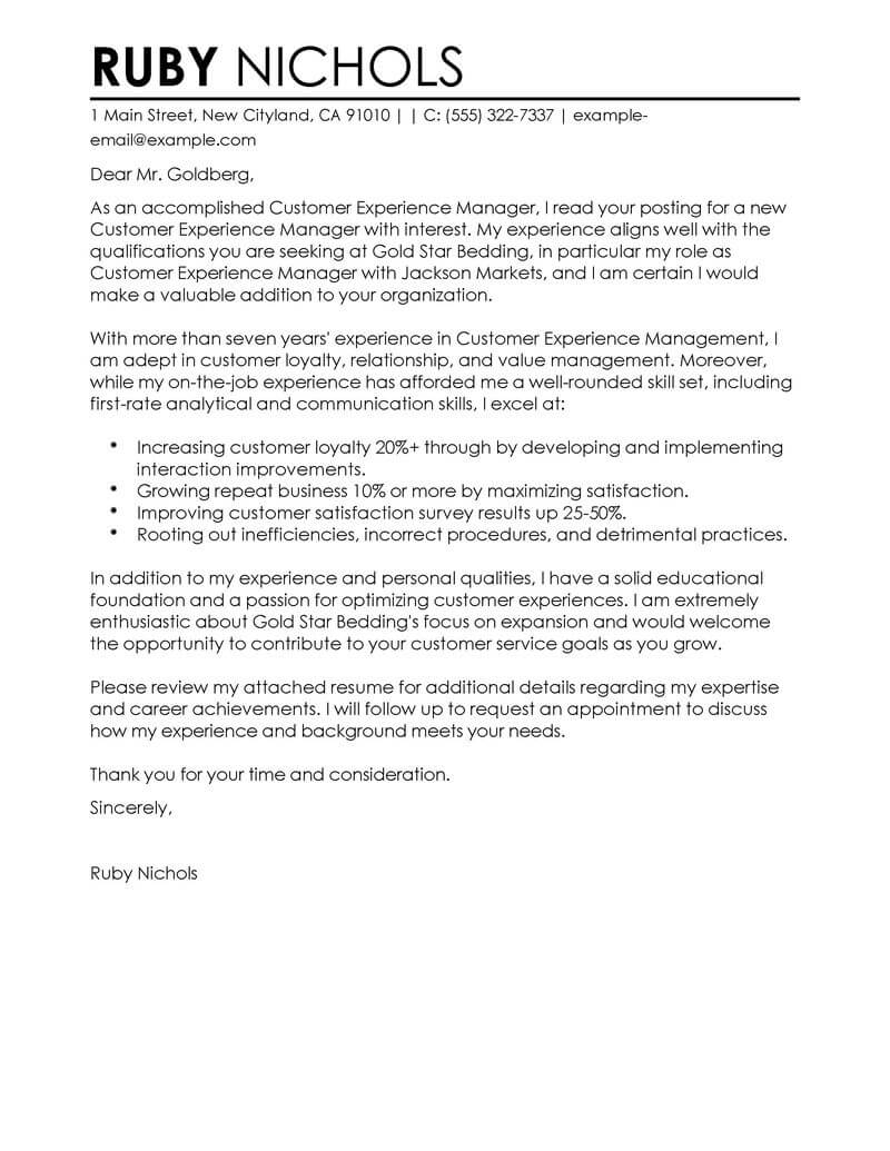 Customer Experience Manager Cover Letter Examples