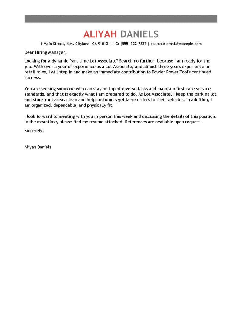 amazing part time lot associates cover letter examples  u0026 templates from trust writing service
