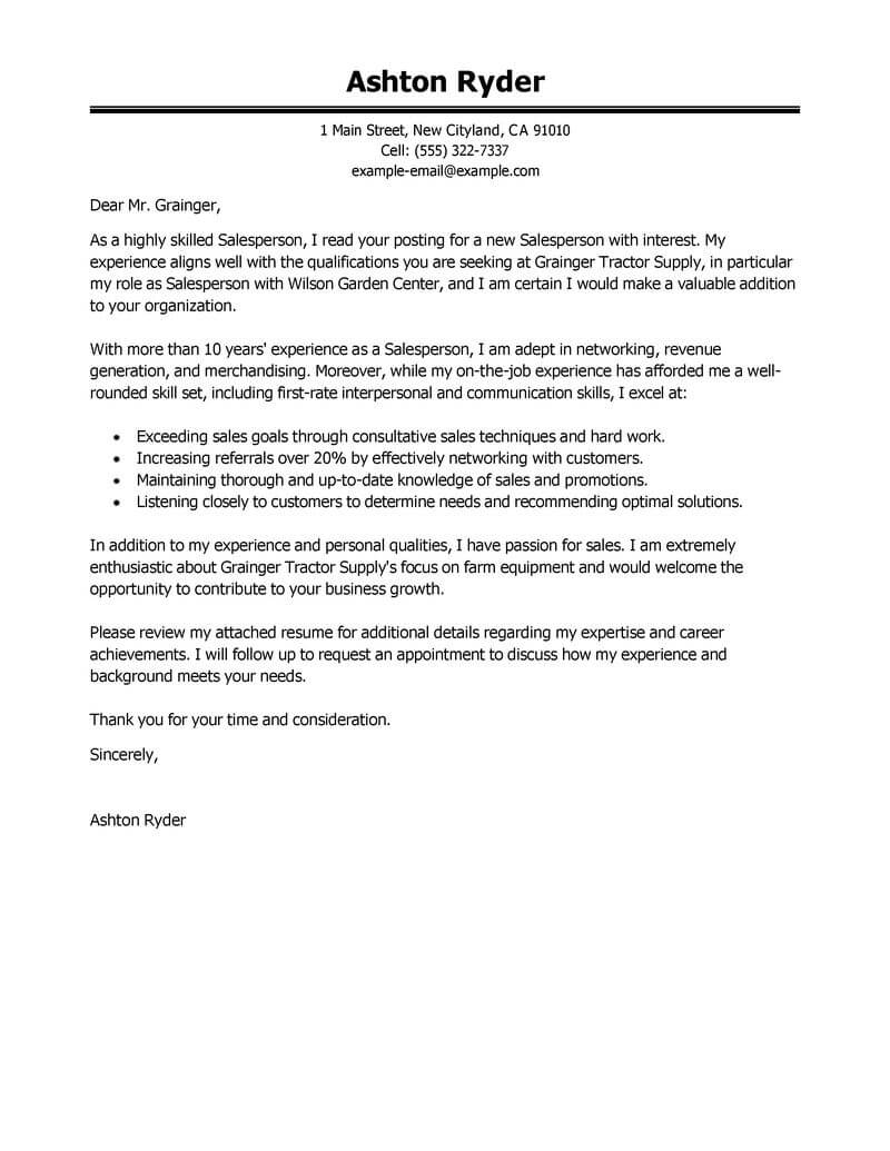 amazing salesperson cover letter examples  u0026 templates from