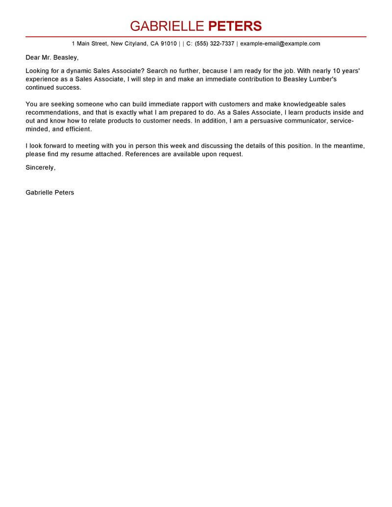 Cover letter example for sales associate