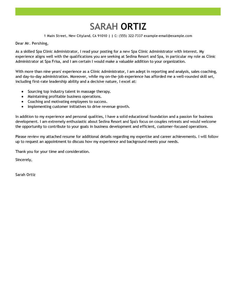 Amazing Clinic Administrator Cover Letter Examples ...