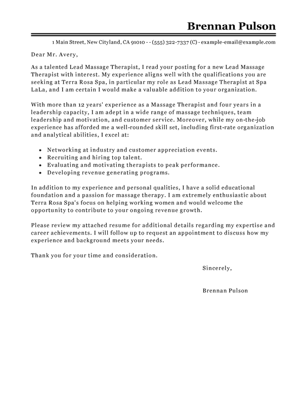 Free Salon Spa Fitness Cover Letter Examples Templates From