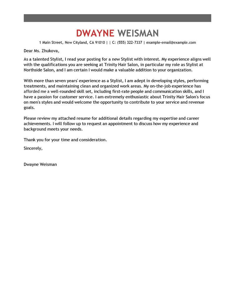 amazing stylist cover letter examples  u0026 templates from trust writing service