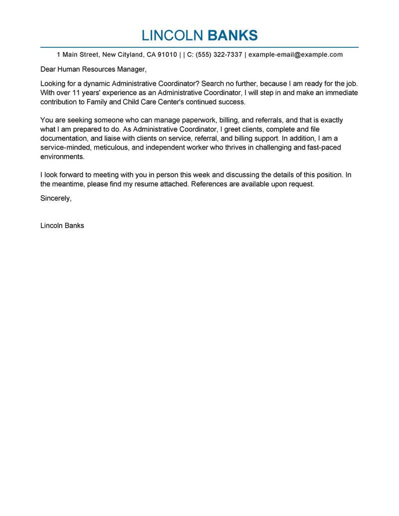 Free Administrative Coordinator Cover Letter Examples & Templates ...