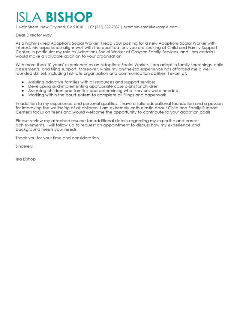 free adoptions social worker cover letter examples  u0026 templates from our writing service