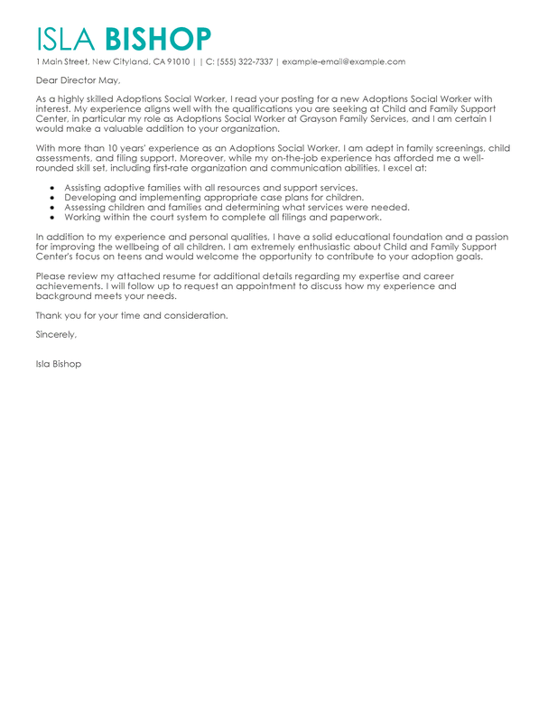 Free Social Services Cover Letter Examples & Templates from ...