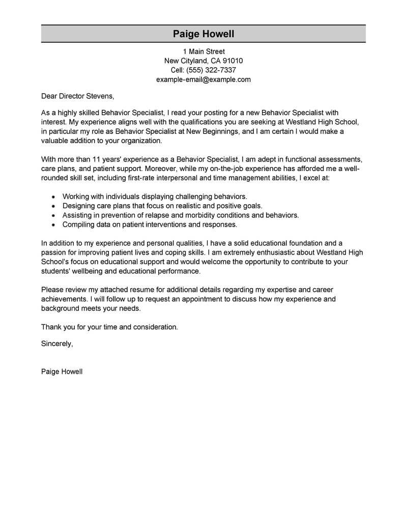 amazing behavior specialist cover letter examples