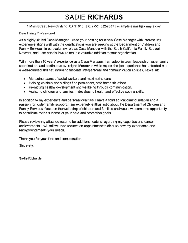 Amazing Case Manager Cover Letter Examples & Templates from Trust ...