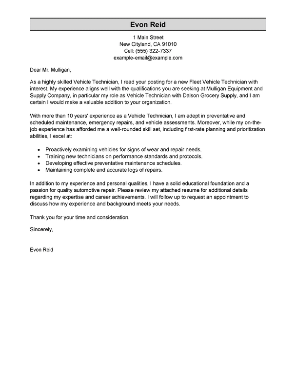 Outstanding Transportation Automotive Technician Cover Letter ...
