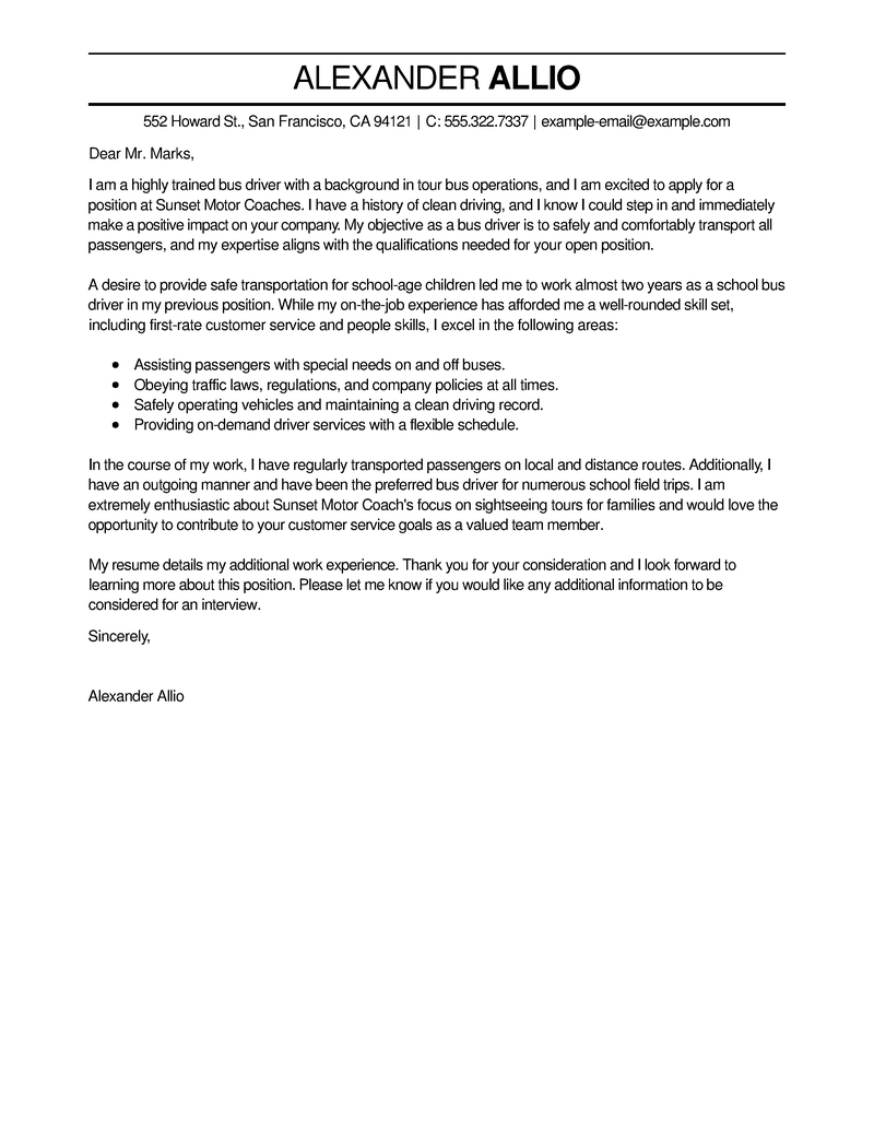 Amazing Bus Driver Cover Letter Examples Amp Templates From