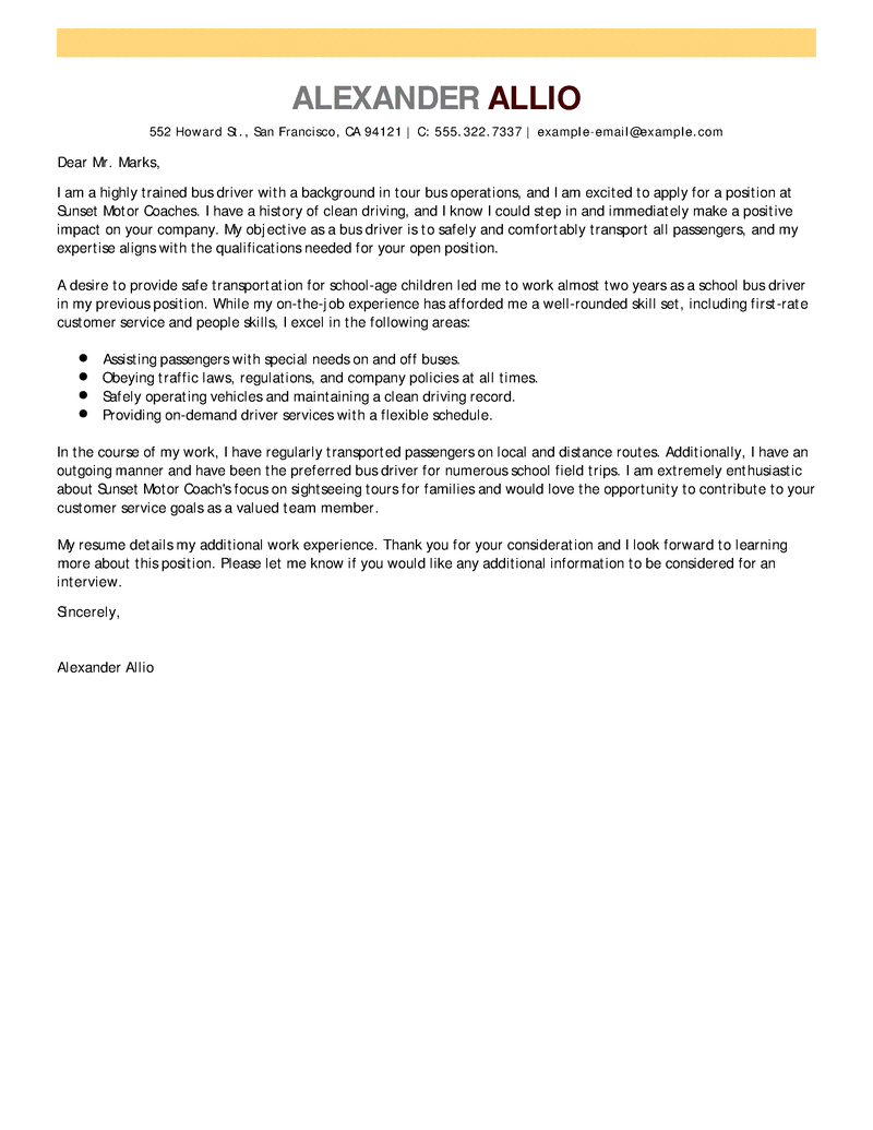 bus driver cover letters
