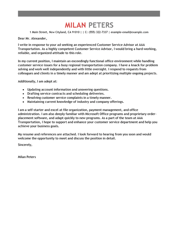 Amazing Transportation Cover Letter Examples & Templates ...
