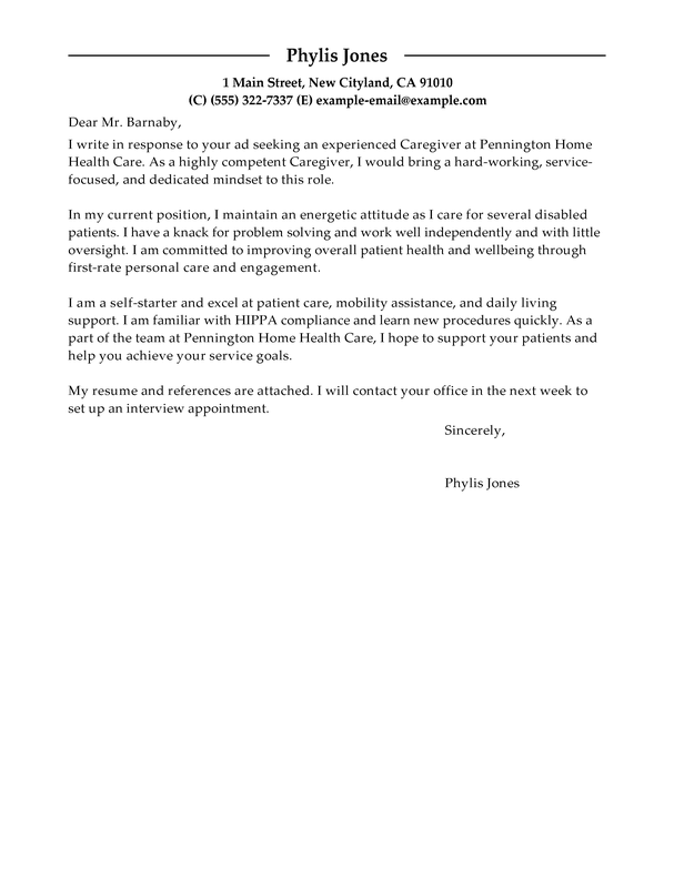 Amazing Wellness Caregiver Cover Letter Examples Templates From