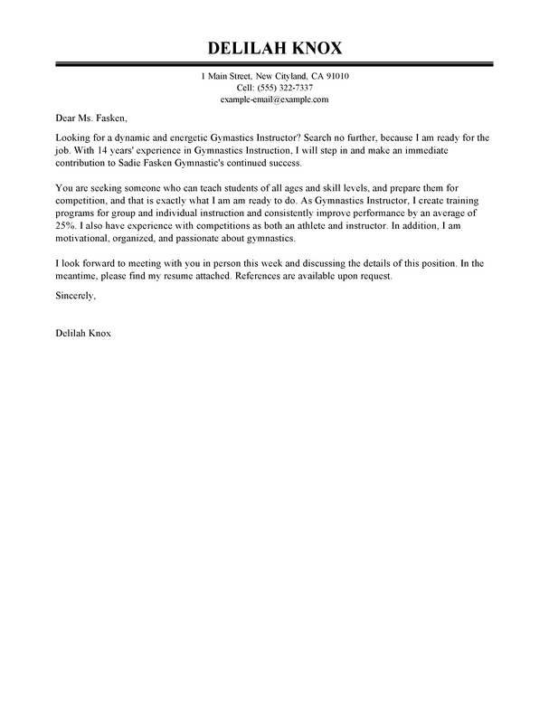 Gymnastics Instructor Cover Letter Examples