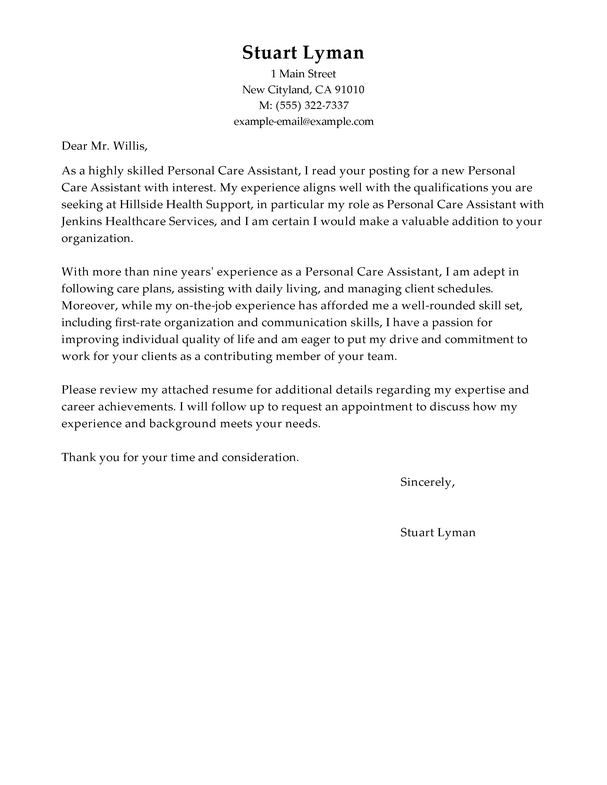 Amazing Personal Care Assistant Cover Letter Examples ...