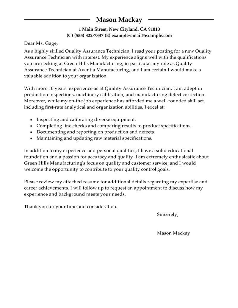 free quality assurance cover letter examples  u0026 templates