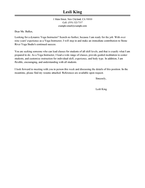 Outstanding Wellness Cover Letter Examples & Templates from ...