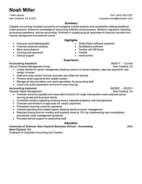 Best Accounting Assistant Resume Example From Professional Resume