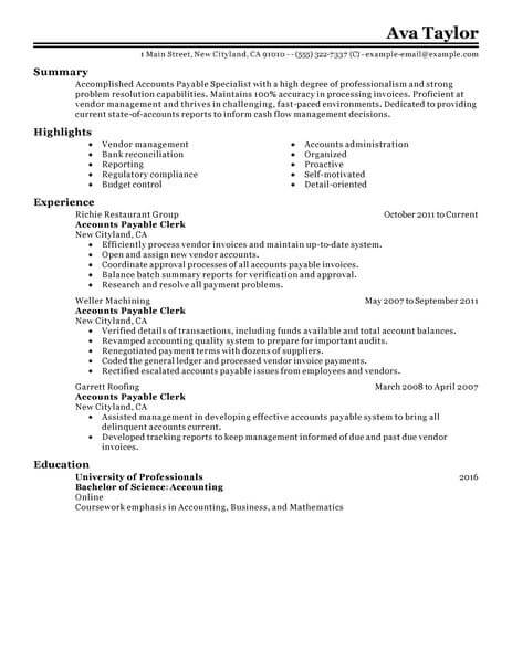 best accounts payable specialist resume example from professional resume writing service