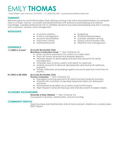 best accounts receivable clerk resume example from