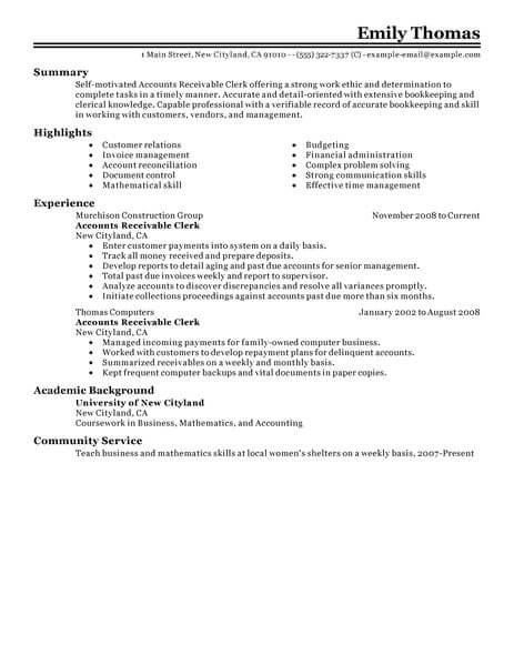 best accounts receivable clerk resume example from professional resume writing service