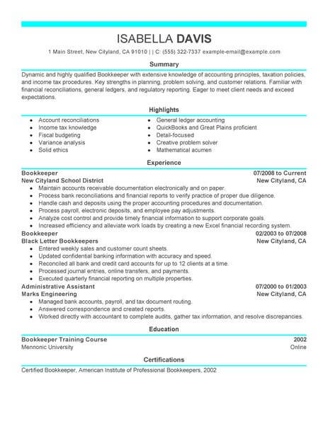 best bookkeeper resume example from professional resume. Black Bedroom Furniture Sets. Home Design Ideas